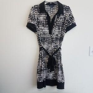 CHAPS Black & White Belted Dress Sz XL